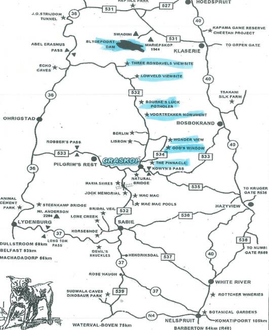 mapa rota panoramica africa do sul