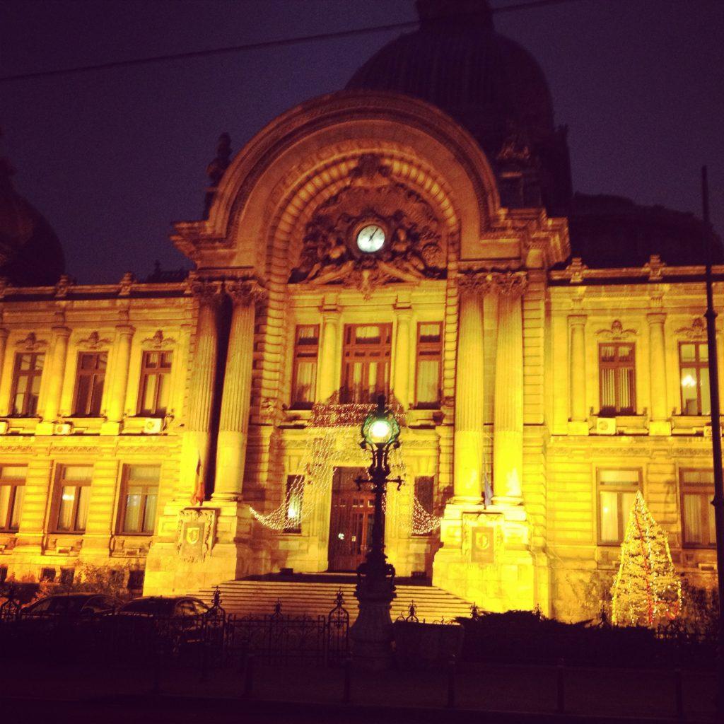 cec building night bucareste romenia