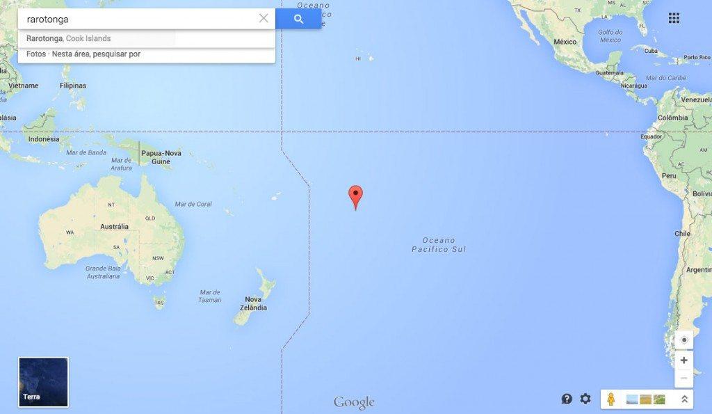 Localização de Rarotonga no Mapa